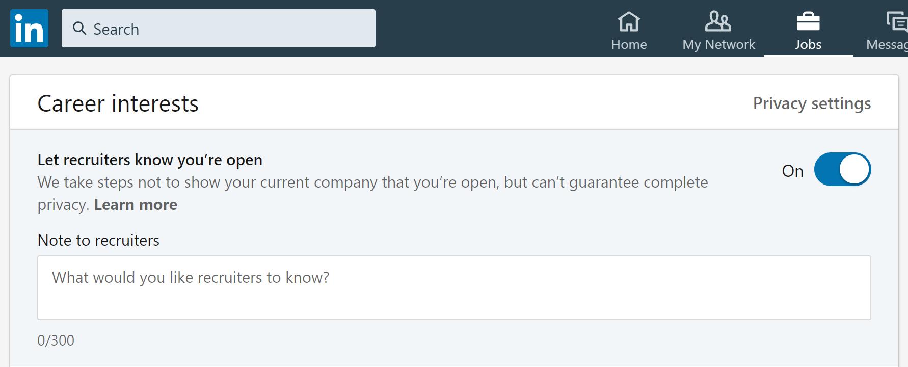 Career Interests LinkedIn